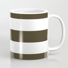 Olive Drab #7 - solid color - white stripes pattern Coffee Mug