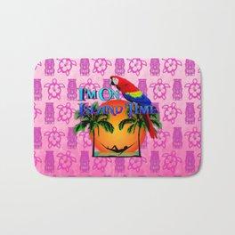 Pink Tiki Island Time And Parrot Bath Mat