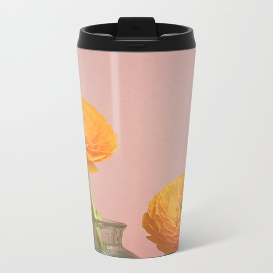 Yellow Flowers Metal Travel Mug