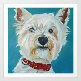 Jesse the Beautiful West Highland White Terrier Dog Portrait Art Print