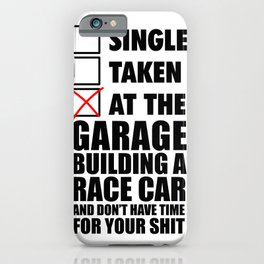 At the garage building a race car iPhone Case