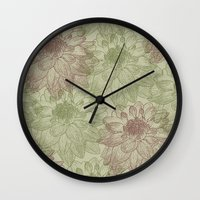 peonies Wall Clocks featuring Peonies by Zen and Chic