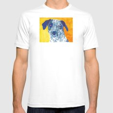 Party Dog White Mens Fitted Tee MEDIUM