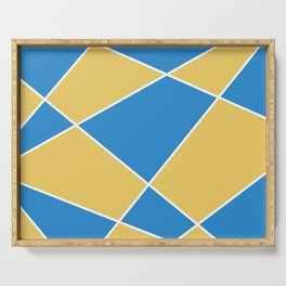 Geometric abstract - orange and blue. Serving Tray
