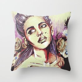 Girl in flowers Throw Pillow