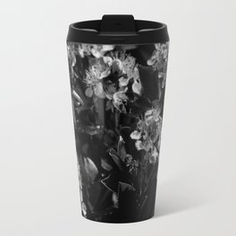 Stopping to Smell the Flowers at the Top of the Mountain Black & White Travel Mug
