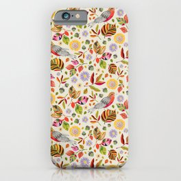 Birds on Fall Leaves iPhone Case