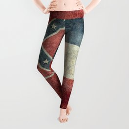 Mississippi State Flag in Distressed Grunge Leggings