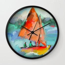 Nautical Sailboat Impressionism, Affordable Stylish - Abstract Framed Art Print Art Print Wall Clock