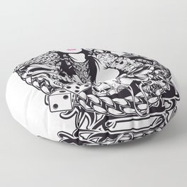 GIRL with SKULL AND SNAKE - PINK Floor Pillow