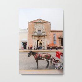 Horse Carriage in Downtown Merida, Mexico Metal Print