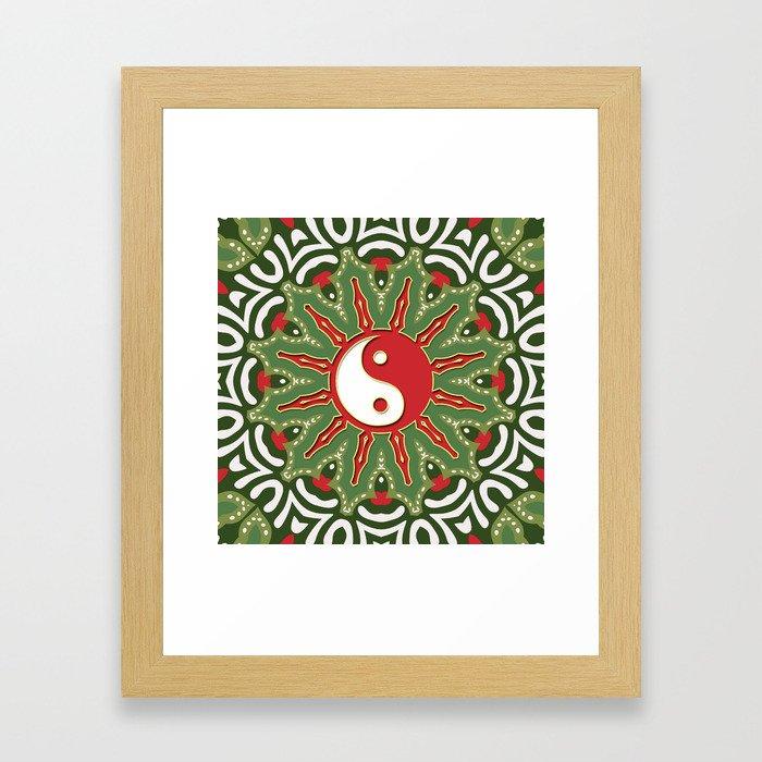 Red Yin Yang Sun Festive Mandala Framed Art Print