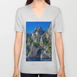 The White Grotto of the island of Capri, Italy off Naples and the Amalfi Coast Unisex V-Neck