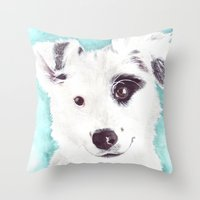 border collie Throw Pillows featuring Border collie by Art by Frydendal