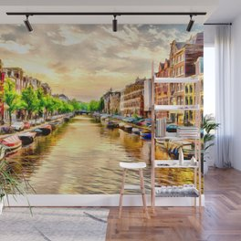 Beautiful sunset in Amsterdam, The Netherlands Wall Mural