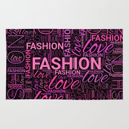 Fashion Word Art in Pink and Purple on Black Rug