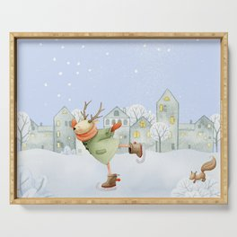 Merry christmas - Ice skating Deer and squirrel are having Winter fun Serving Tray