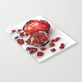 Red pomegranate watercolor art painting Notebook
