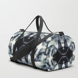 Black white abstract Passage through galaxy Duffle Bag