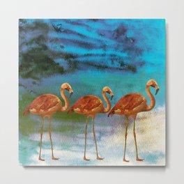Tropical Flamingo Illustration on watercolor - Birds Animals Metal Print
