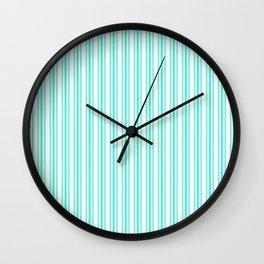 Trendy Large Aqua Gift Box Pastel Aqua French Mattress Ticking Double Stripes Wall Clock
