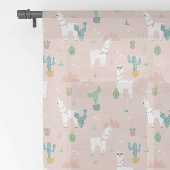 Summer Llamas on Pink Sheer Curtain