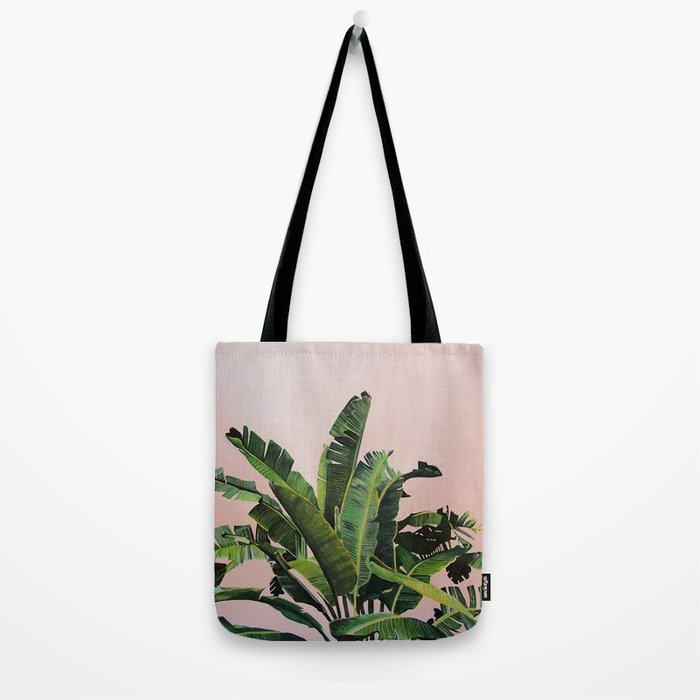Tropical Palm leaves on pink Tote Bag
