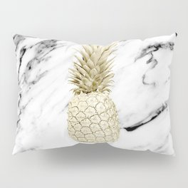 Gold Pineapple on Marble Pillow Sham