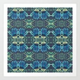 Blue Echinacea, Teal Cone Flowers, Blue Flower Dream Art Print