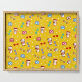 Coffee cup hipster pattern, yellow polka dot cool sunglasses pattern Serving Tray