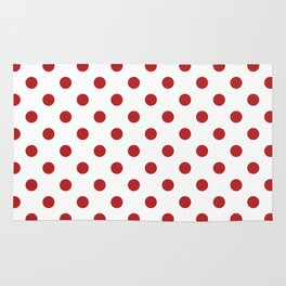 Small Polka Dots - Firebrick Red on White Rug