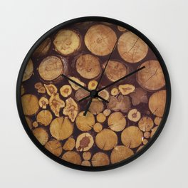 pile of wood Wall Clock