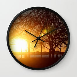 Sunset on the Hudson River Wall Clock