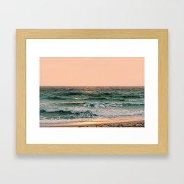 Pink Skies Ocean Vibes Framed Art Print