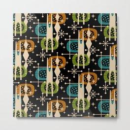 Retro Atomic Mid Century Pattern Black Orange Green and Turquoise Metal Print