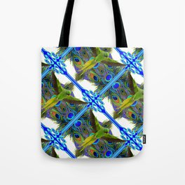 ART NOUVEAU FLYING GREEN PARROT  PEACOCK FEATHER WHITE ART Tote Bag