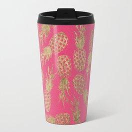 Tropical neon pink faux gold pineapple fruit pattern Travel Mug