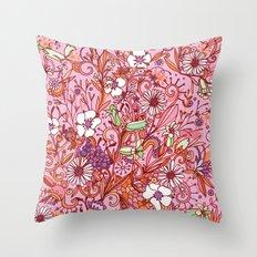 Daisy and Bellflower pattern, pink Throw Pillow