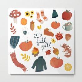 Fall Ya'll, Fall Collage, Autumn, Mushrooms, Pumpkin Pie, Coffee Mug, Scarf, Comfy, It's Fall Ya'll Metal Print