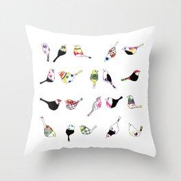 coloured birds Throw Pillow