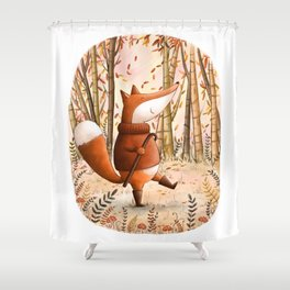 A Walk In The Woods - Fall Illustration Shower Curtain