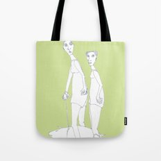 two girls and a dog Tote Bag