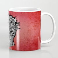 tyler durden Mugs featuring Typography Tyler Durden Uncensored by Adam Grey