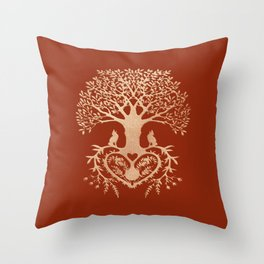 Rose Gold foil Tree of Life with Heart Roots Throw Pillow