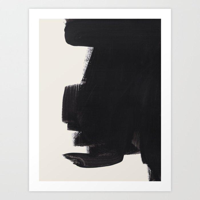 Mid Century Modern Minimalist Abstract Art Brush Strokes Black & White Ink Art Colorfield Kunstdrucke