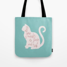 Shabby chic illustration - all you need is love (and a CAT), typography, interior design, cats, love Tote Bag