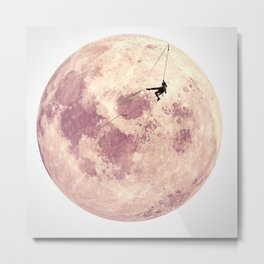 Pink Moon Climbing Metal Print