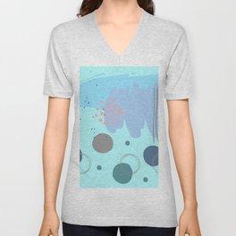 Minimalist Abstract Retro Teal Navy Gray Circles Lines Purple Lilac Aqua blue Brush Strokes Unisex V-Neck