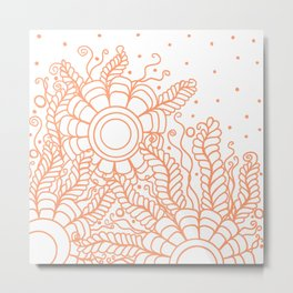 Doodle Art Three Flowers Vines – White and Orange Metal Print