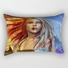 Fire and Ice Fantasy Art Rectangular Pillow